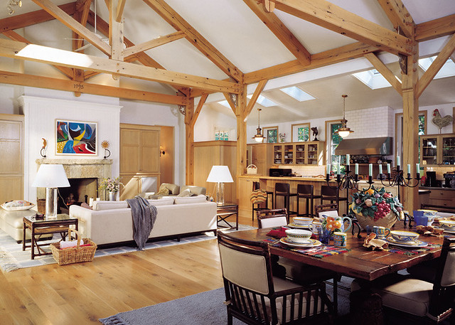 room to gather timber frame home great room