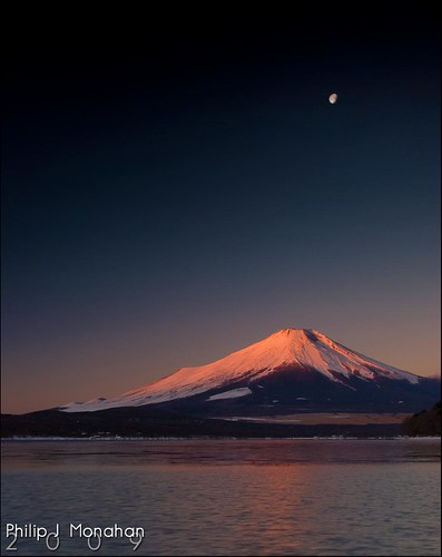 Mt. Fuji under the Moon