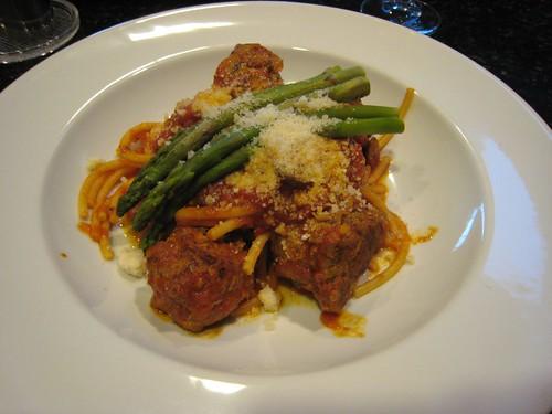 pasta, meatballs, asparagras IMG_0110