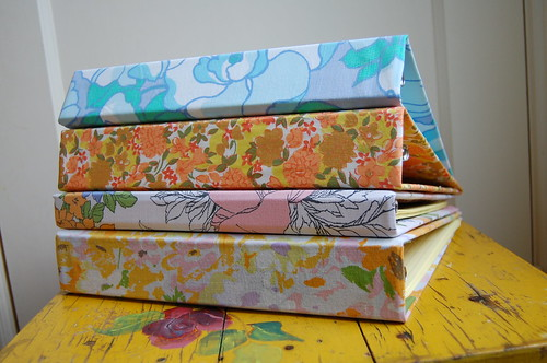 Vintage sheet covered binders