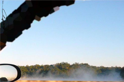 trees sky mist lake reflection sc water fog mirror southcarolina upstate barrier piedmont barricade i85 oconeecounty upcountry lakehartwell