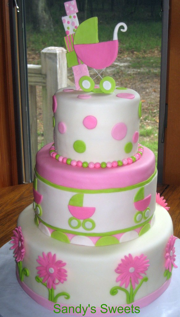 pink and green baby shower cake a photo on flickriver