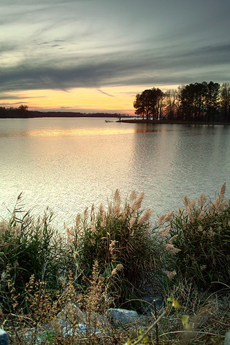 sunset sky lake water creek illinois wolf crab orchard southern hdr