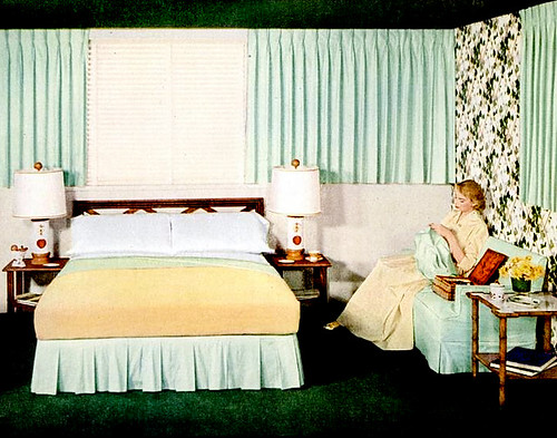 Early 50s bedrooms 1950 55 mid century living - 1950 s living room decorating ideas ...