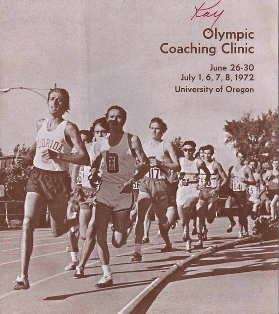 Olympic Coaching Clinic Booklet Cover June-July 1972, photo is of Steve Prefontaine, 254,  June 25, 1971 AAU Championships, Hayward Field, Eugene OR, 3 mile race