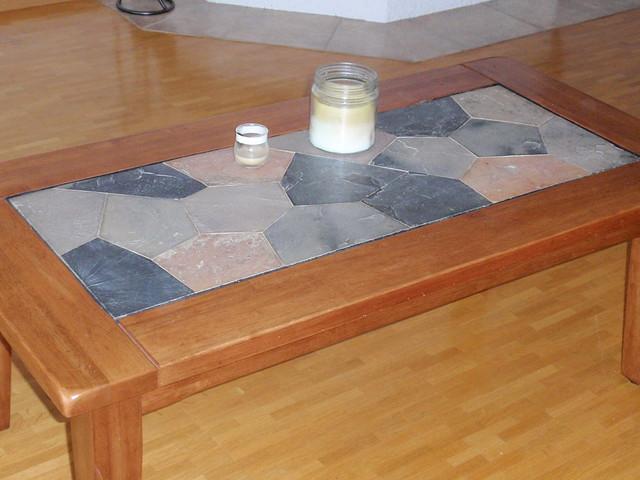 oak coffee table tile inlay table basse en chene. Black Bedroom Furniture Sets. Home Design Ideas