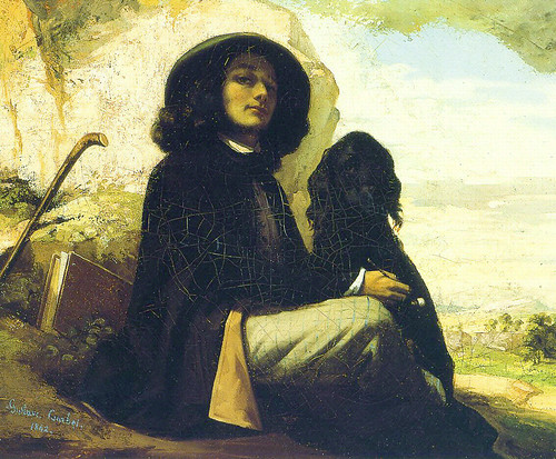 Gustave Courbet - 1842 - Self Portrait with a Black Dog
