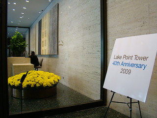 Doorman and Lake Point Tower's 40th Sign