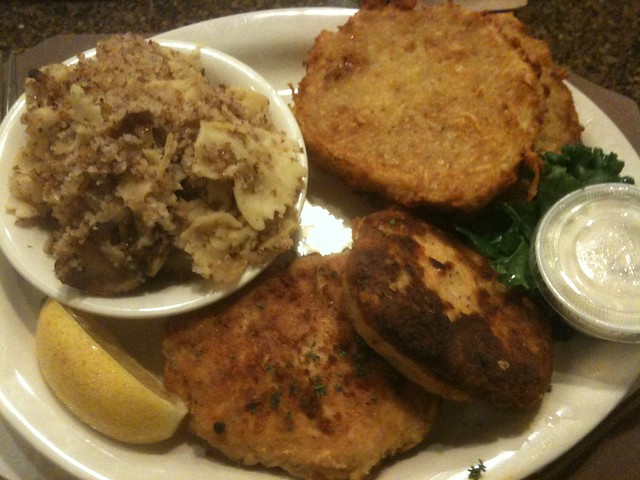 Kasha Varnishkas, Salmon Croquettes and Potato Pancakes at 3 G's