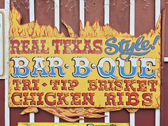 REAL TEXAS Style! BAR•B•QUE TRI-TIP BRISKET CHICKEN RIBS
