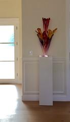 White Gloss Laminate Pedestal with Spotlight