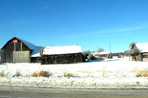 ontario canada barn roadside snowylandscape