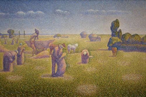 wheat grain harvest impressionism pointilism museumoffinearts museumoffineartshouston oiloncanvas mfahouston theharvesters charlesangrand 1001bissonnetstreet