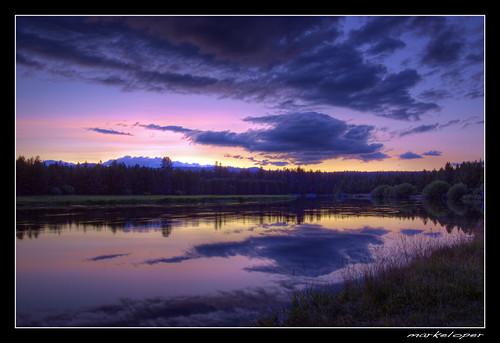 sunset reflection clouds oregon canon river bend central deschutes sunriver 50d markeloper