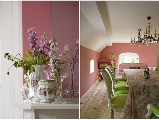 Bed Of Flowers  Pink Dining Room