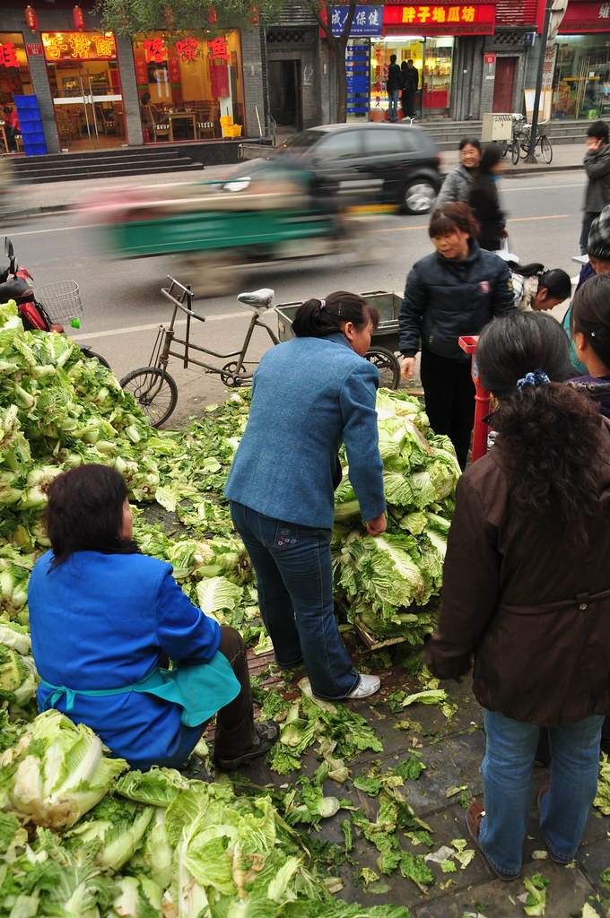 Selling cabbage on a street