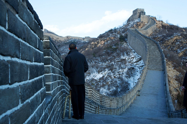 President Barack Obama tours the Great Wall in Badaling, China