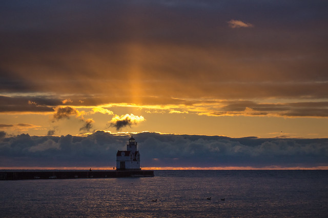 Lighthouse, Sunrise, Lake Michigan, Kewaunee, WI