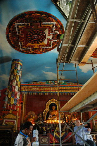 Hevajra Mandala on the ceiling, Buddhist shrine, volunteers Ikea and John work on installing the chandelier, scaffolding, Sakya Monastery of Tibetan Buddhism, Seattle, Washington, USA by Wonderlane