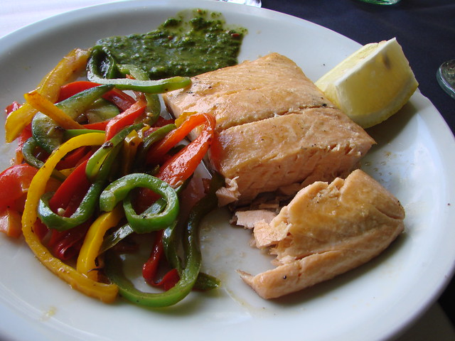healthy grilled pink salmon