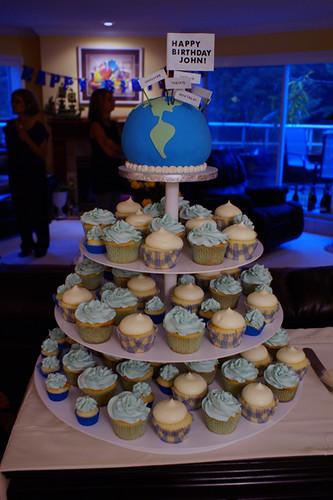 70th Birthday Celebration World Cake And Cupcakes