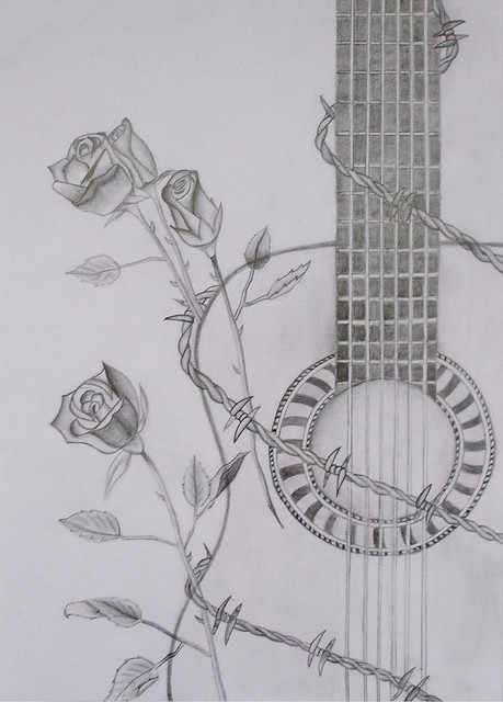 drawing guitar  barbed wire  roses