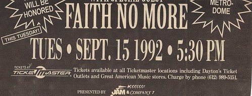 09/15/92 Guns 'N' Roses/Metallica/Faith No More @ Minneapolis, MN (Rescheduled Date Ad)(Bottom)