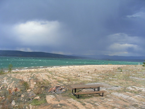 light lake storm rain landscape shore whitecaps