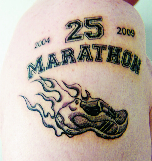 my 25th marathon anniversary tattoo flickr photo sharing. Black Bedroom Furniture Sets. Home Design Ideas