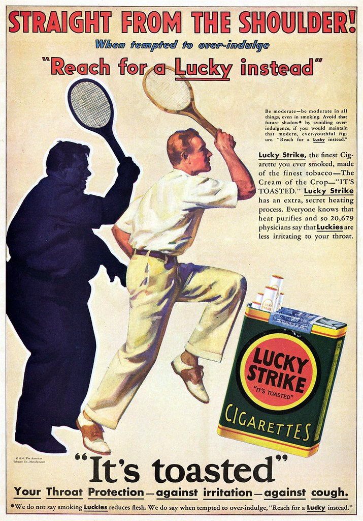 О пользе курения. Сигареты вместо диеты! Реклама 30-50-х.