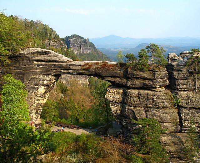 The great natural sandstone arch named Pravčická brána or Prebischtor
