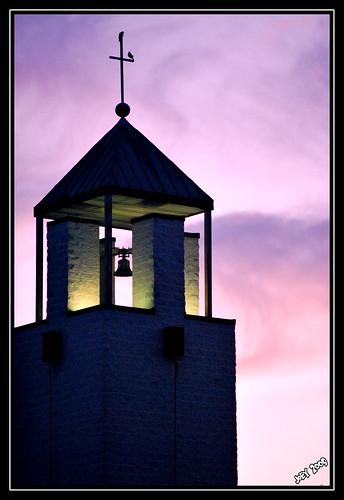 morning pink white black bird tower sunrise community nikon catholic purple bell dslr blessed silloutte sacrament d60