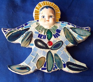 Wide Eyed Mosaic Angel by Jeanne