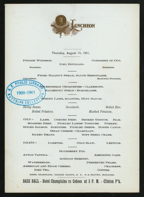 LUNCHEON [held by] HOTEL CHAMPLAIN [at] 'CLINTON, NY' (HOTEL...