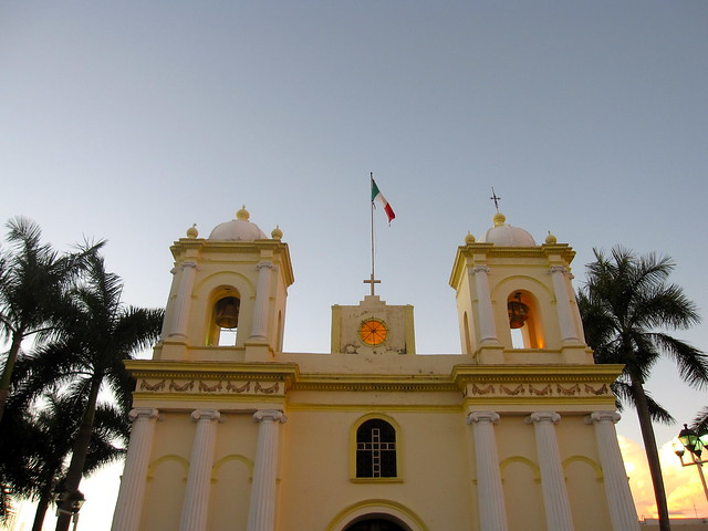 A church at dusk in the Mexican border town of Tapachula