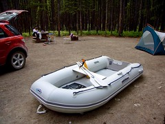 watercraft rowing(0.0), motorboat(0.0), automotive exterior(1.0), dinghy(1.0), vehicle(1.0), skiff(1.0), boating(1.0), inflatable boat(1.0), watercraft(1.0), boat(1.0),