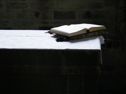 Bible, altar, Studland church, Dorset