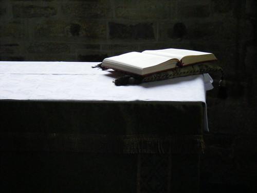 Bible, altar, Studland church, Dorset