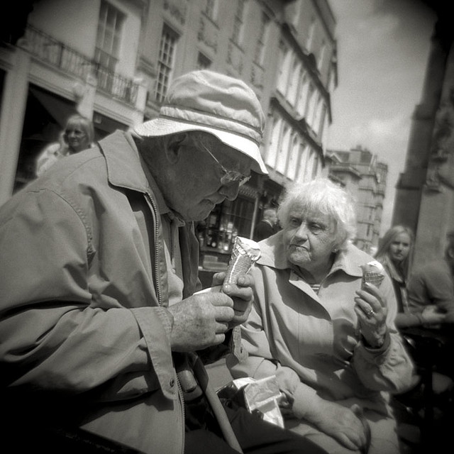 Ice Cream Is An Important Business! Bath Abbey Churchyard, Bath.