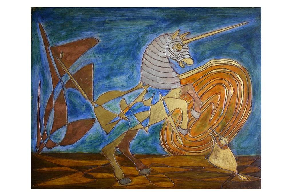 Unicornio Dorado Brunido Y Pintura Al Temple David Del Aguila