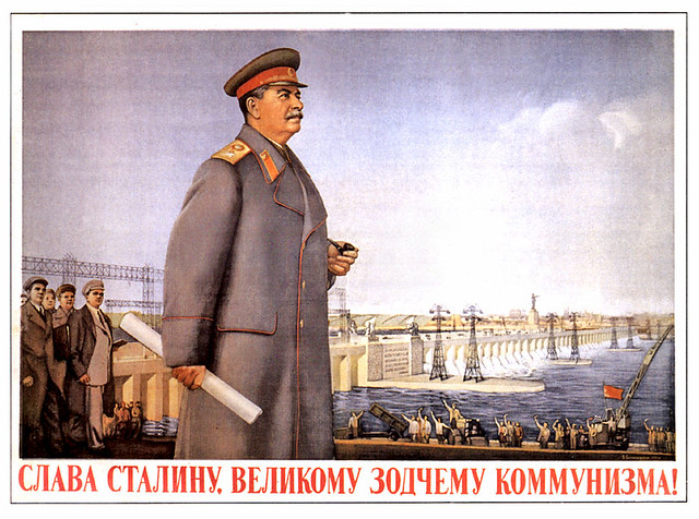 USSR-stalin-dam-pipe- happy people waving arms