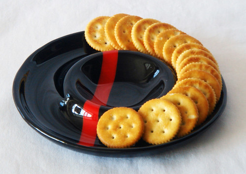 Black and Red chip and dip dish