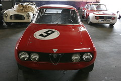 executive car(0.0), alfa romeo giulietta(0.0), race car(1.0), automobile(1.0), automotive exterior(1.0), alfa romeo(1.0), alfa romeo 105 series coupes(1.0), alfa romeo 1750 berlina(1.0), alfa romeo gta(1.0), vehicle(1.0), antique car(1.0), sedan(1.0), land vehicle(1.0), convertible(1.0),