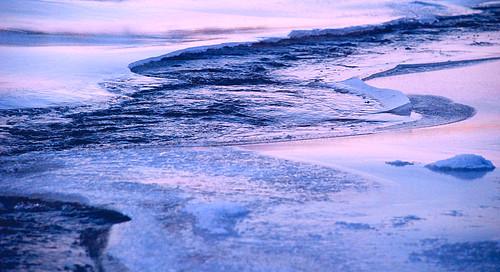 city blue winter light sunset snow cold color ice water creek river frozen utah magenta southern cedar coal houle bicentennialpark potofgold cedarcity coalcreek suu