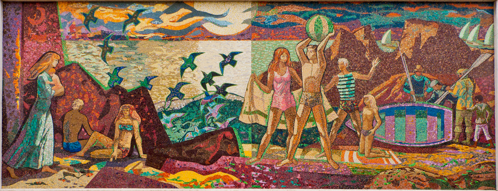 "Sheets Studio, ""Pleasures Along the Beach"" mosaic, Santa Monica, 1970, detail. Image courtesy of Pete Leonard."