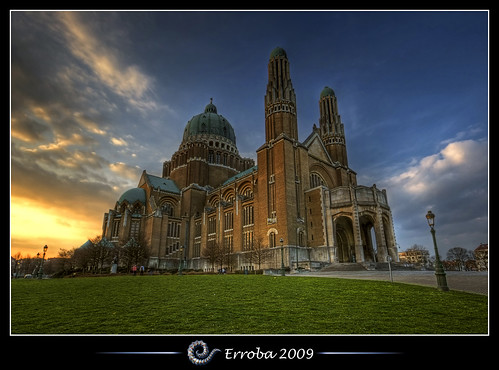 blue sunset brussels sky orange green church grass yellow clouds photoshop canon rebel belgium belgique tripod belgië bruxelles sigma tips remote 1020mm erlend brussel hdr basilique cs3 basiliek 3xp photomatix koekelberg tonemapped tonemapping xti 400d erroba robaye erlendrobaye —obramaestra—