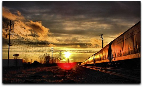 sunset sky sun sunshine minnesota clouds train tracks rochester explore railroadtracks rochestermn