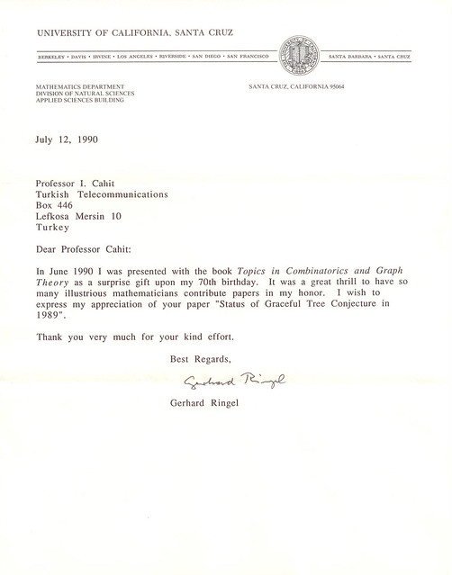 A letter from Gerhard Ringel in 1990