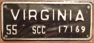 VIRGINIA 1955 ---STATE CORPORATE COMMISSION plate