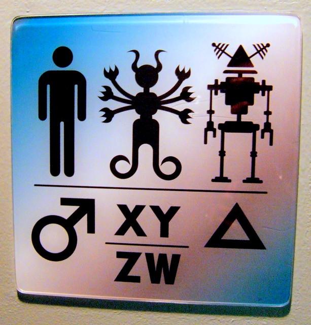 Intergalactic Restroom Sign, SciFi Museum